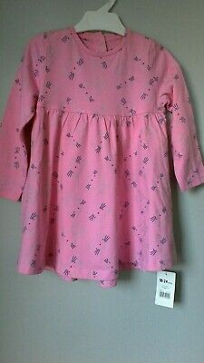 Baby Girls Pink Dress Mothercare Age 18-24 Mth Long Sleeves Cotton New With Tag
