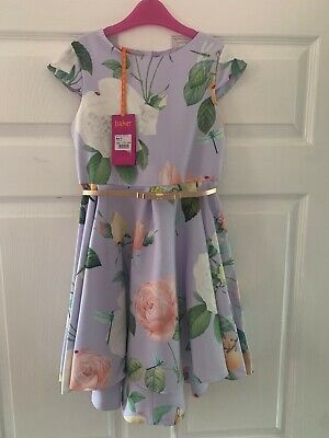 Girls BNWT Ted Baker Occasion Wear Lilac Floral Party Dress Aged 9 Years