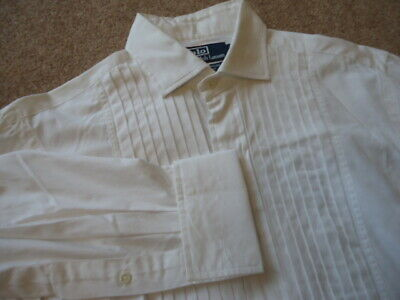 Vintage POLO Ralph Lauren ESTATE Custom Fit Pleated Dinner Tuxedo Shirt S 15