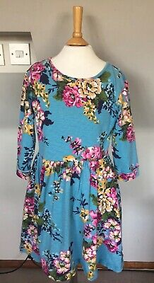 Joules Girls Blue Pink Brown Green Floral Dress Age 11-12 Years