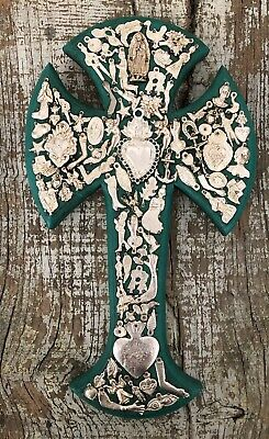 "Green MILAGROS CROSS Sacred Heart Virgin Guadalupe XLG 15""H Mexican Folk Art"