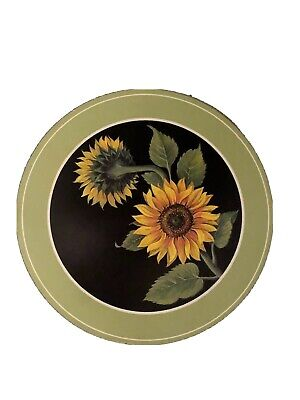PIMPERNEL 6 Round Sunflower Table Place Mats Green Borders Cork Backing Boxed