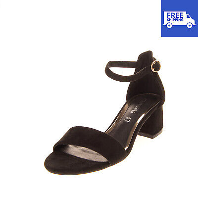 CAFENOIR Ankle Strap Sandals Size 38 UK 5 US 8 Leather Lining Heel Pin Buckle