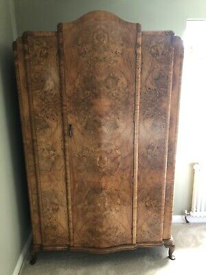 1920s Art Deco Walnut Wardrobe - Vintage Antique - PICK UP ONLY