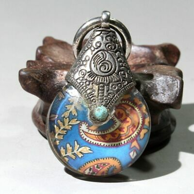 Collect Chinese Old Miao Silver Internal Mosaic Flowers Hand-Carved Luck Pendant