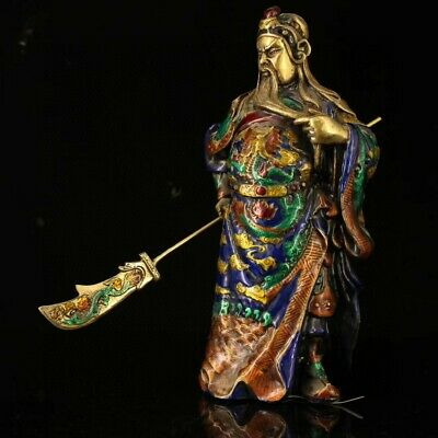 Collectable China Old Bronze & Cloisonne Hand-Carved General Guan Yu Rare Statue