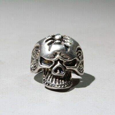 Chinese Collectable Old Miao Silver Carve Skeleton Head Auspicious Exorcism Ring