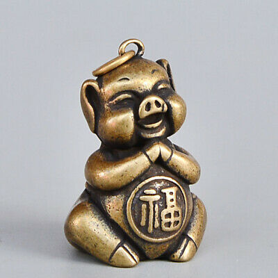 Collectable Old Copper Handwork Carve Lovely Pig Auspicious Interesting Pendant