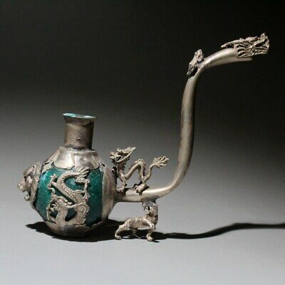China Collectable Antique Miao Silver & Jade Hand-Carved Dragon Phoenix Old Pipe