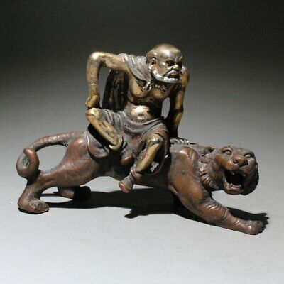 Collectable China Old Copper Hand-Carved Old Men Riding Tiger Interesting Statue