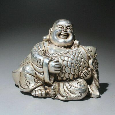 Collectable Handwork Old Miao Silver Carve Buddha Embrace Fish Auspicious Statue
