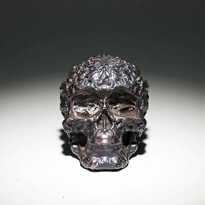 Collectable China Red Copper Hand-Carved Vicious Skull Moral Exorcious Statue
