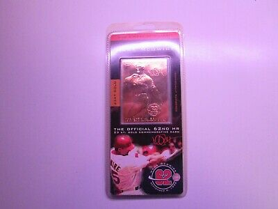 Mark McGwire Limited Edition 62nd HR 23kt 1998 Gold Commemorative Baseball Card w//COA