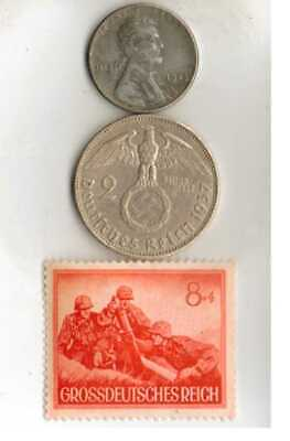 #-7)-*Rare WWII- *German Stamp+ WWII-*German SILVER EAGLE coin+*us STEEL penny