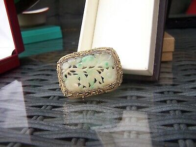 Vintage, Antique Chinese Jade Silver Pendant & Brooch. Very Old & Lovely