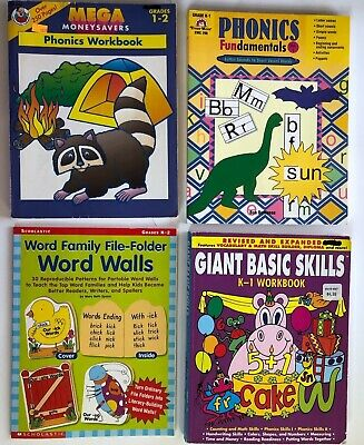 LOT 4 Kindergarten 1st Grade Workbook Phonics Teacher Resource Homeschool 2nd