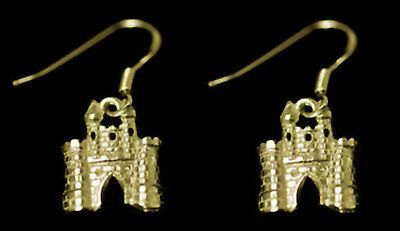NICE Fairy Tale medieval 24K Gold Plated over Real Sterling Silver Castle earrin