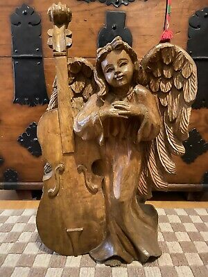 "Lg Vintage Wooden Hand Carved 21.75"" High Angel Figure From The Philippines"