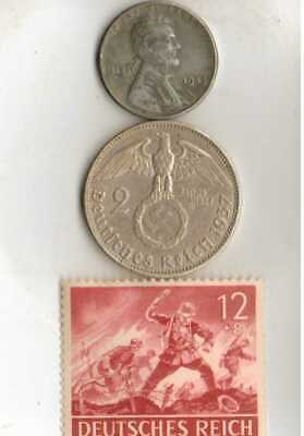 #-8)-*Rare WWII- *German Stamp+ WWII-*German SILVER EAGLE coin+*us STEEL penny
