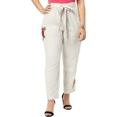 NY Collection Womens Beige Embroidered Casual Cropped Pants Plus 3X BHFO 7190
