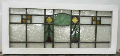 "OLD ENGLISH LEADED STAINED GLASS WINDOW TRANSOM Pretty Geometric 32.5"" x 14.5"""