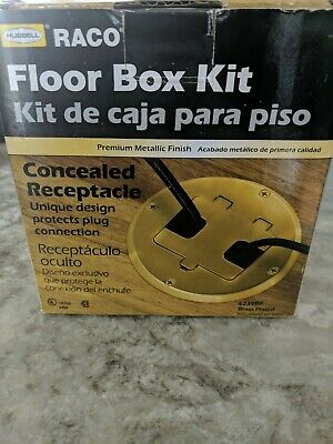 RACO Hubbell Brass Floor Box Kit Concealed Receptacle Duplex 6239BP