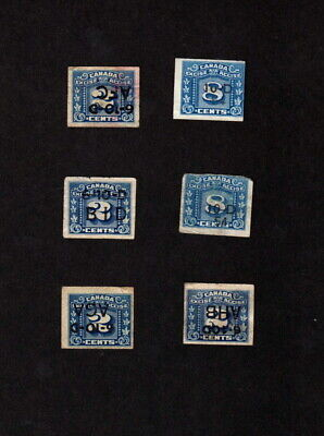 Canada 6 Used Excise Tax Revenue Stamps With Cigarette Company Dated Overprints
