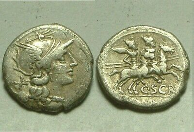 Genuine Ancient Roman silver Coin C Scribonius Denarius 154BC Roma the Dioscuri