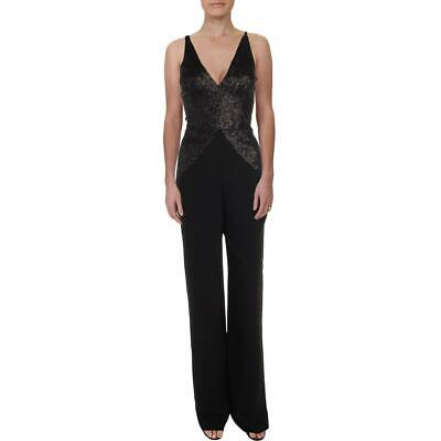 Dress The Population Womens Joey Black Sequined Plunge Jumpsuit M BHFO 1702