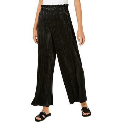 Be Bop Womens Black Paperbag Shimmer Pleated Palazzo Pants Juniors L BHFO 0360