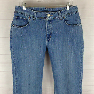 Lee Riders womens 14 x 33 long stretch blue med wash mid-high rise straight jean