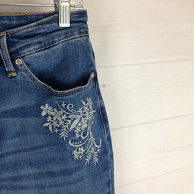 Lee EMBROIDERED womens size 6 stretch blue med wash SLIMMING straight jeans EUC