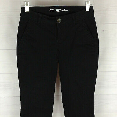 Old Navy womens size 0 stretch solid black flat front bootcut chino pants NWOT