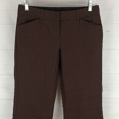 EXPRESS Editor womens size 2 stretch brown flat front rayon nylon flare pant EUC