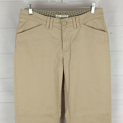 Lee womens size 6 stretch solid beige mid rise bootcut khaki pants EUC
