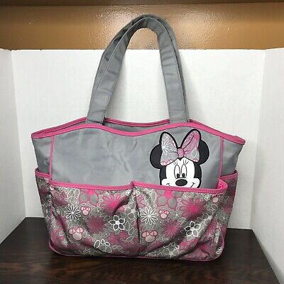 Diaper Bag Disney Baby Minnie Mouse Pink Grey White Black Tote Purse Carryon Euc