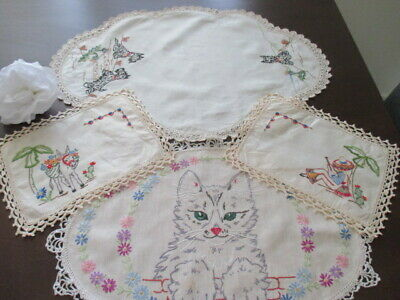 5 Vintage Retro Linen Doilies. Hand Embroidered. Scotty Dog, Kitten, Mexican Man