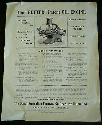 'PETTER' Patent OIL ENGINE brochure (1911?) South Australia Farmer's Union