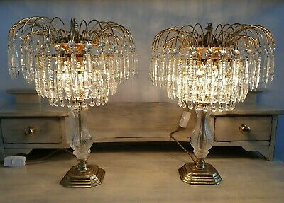 Vintage Crystal and Gold Table Lamp Pair Elegant