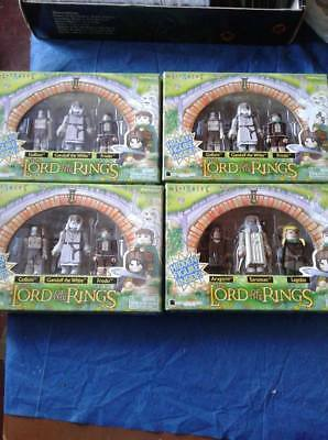 Lord of the Rings Art Asylum Minimates 4 boxes rari Tolkien Gandalf Frodo Gollum