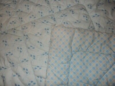 33x42 MARTHA STEWART BABY Blue FISH Plaid Crib Comforter Baby Blanket Quilt