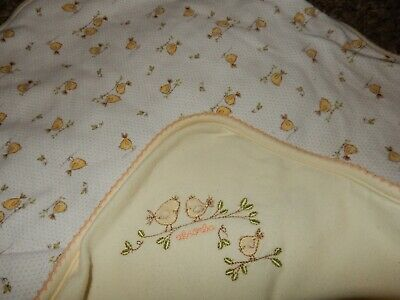 LN Absorba Birds Birdy Thick Fluffy Cotton Receiving Swaddle crib Baby Blanket