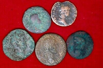 5   Large Unidentified Roman Coins