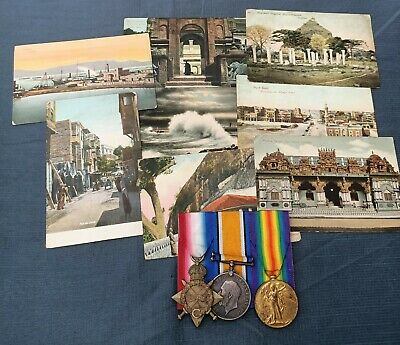 WWI Australian 1st AIF Medal Group & Postcards 2474 Pte C.N.Martin KIA 1917