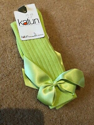 Baby Girls Knee High Bow Socks Size 19-22 3 1/2-5 Infant) Bnwt
