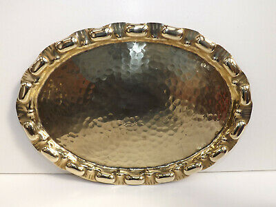 Arts & Crafts Small Brass Serving Tray With Hammered Finish