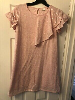 Next Girls Pink Sparkle Sequin Dress Size 11 Worn Once