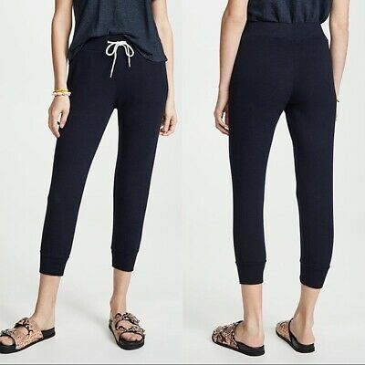 $130 Monrow Supersoft Sporty Cropped Jogger Sweatpants Inca Blue Size Large NWT