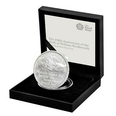 The 250th Anniversary of the Birth of William Wordsworth 2020 UK £5 Silver Proof