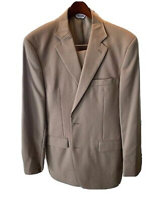Joseph & Feiss Men's Tan Two Button Worsted Wool Suit size 54R Pants 36x36